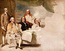 Portrait of the four principal US ministers in Paris; left to right, John Jay, John Adams, Benjamin Franklin, Henry Laurens, and their secretary on the far right.