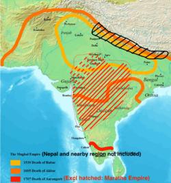 莫卧儿帝国的最大统治范围,1700年