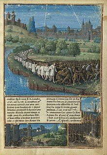 Lines of peasants and armies are shown in battle against the Seljuq Turks.