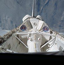 Spacelab in the payload bay while in orbit