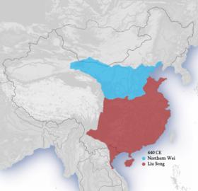 440年南北朝前期疆域图:淡蓝色为北魏,红色为刘宋。