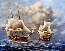 A color painting of two ship at sail. Both ships have 3 masts in which the sails are partially set. The ship on the left is moving toward the right side of the frame, and the ship on the right is moving straight ahead.
