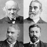 Head and shoulders photos of each of the four men. Black and white. Grove is bald and benign-looking; Burnand fully-thatched and moderately bearded, looking pleased with himself; Carte, serious, dark-haired and neatly bearded; and Gilbert light-coloured hair and moustache looking slightly to right.