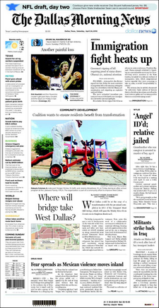 An example of a cover from The Dallas Morning News in 2010.