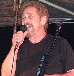 A man with curly light brown hair and a beard singing into a microphone