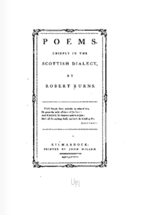 Cover of Robert Burns' Poems, chiefly in the Scottish Dialect. Circa 1786.png
