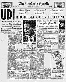 """The front page of a newspaper, """"The Rhodesia Herald"""". The main headline is """"UDI—Rhodesia goes it alone""""."""