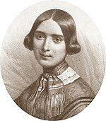 drawing of young white woman, with short dark hair, in plain early 19th century dress