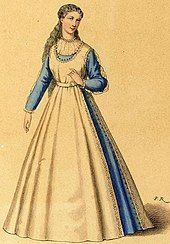 Painting of a young woman in 16th-century costume