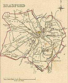 Map of Bradford boundaries in 1835.