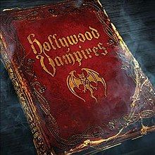 """Album cover depicting a gothic-style red leather-bound book titled """"Hollywood Vampires"""""""