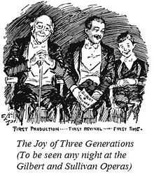 """Drawing of a grandfather, father and boy, all dressed for the theatre, sitting in happy anticipation, over the caption """"The Joy of Three Generations (To be seen any night at the Gilbert and Sullivan Operas)"""""""
