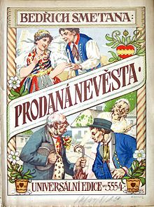 """Colorfully illustrated cover of a Czech edition of the """"Prodaná Nevěsta"""" score, published around 1919, depicting several of the opera's leading characters"""
