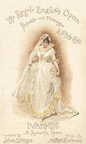 """Colourful programme cover for Ivanhoe, showing one of the characters in a white wedding dress, under the words """"The Royal English Opera"""""""