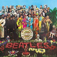 The album artwork of the Beatles' 1967 album Sgt. Pepper's Lonely Hearts Club Band