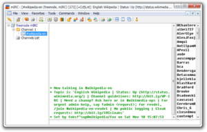 Screenshot of an unmodified mIRC 7.27 running on Windows 7 on the freenode IRC network