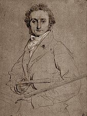 drawing of youngish white man in formal evening costume, carrying a violin