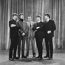 The Beatles with Ed Sullivan in February 1964