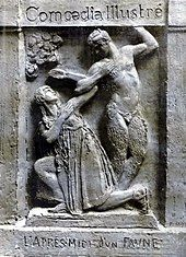 drawing in the style of a bas-relief showing two dancers, one as a young woman, one as a faun in semi-human form