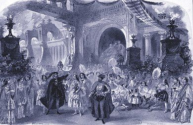 Engraving showing an elaborate stage scene with large crowd and grandiose buildings behind