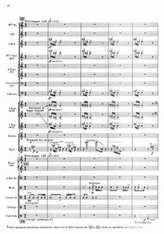 """A page from a printed musical score. The tempo marking is """"Presque vif"""", and the orchestration is for wind, strings and percussion instruments."""