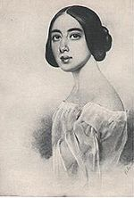 line drawing of young woman in early 19th century dress