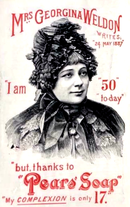 Advertisement showing a middle-aged woman in an extravagant hat, announcing that though aged 50 the soap has left her complexion youthful