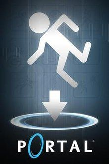 """A white stick figure (in the style of a crosswalk signal) in a falling pose. The figure is falling towards a horizontal portal with an arrow pointing down into it. The word """"Portal"""", with the """"o"""" replaced with a stylized blue portal, is displayed underneath this."""