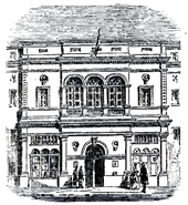 Drawing of exterior of small, neo-classical theatre