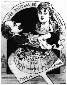 Caricature of middle-aged male pianist and young female singer