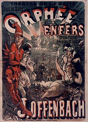 Colourful theatre poster depicting a party in Hades