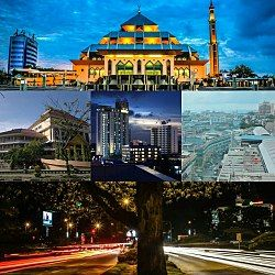Batam city montage, from top left to right: The front view of Batam Great Mosque, the City Hall building, skyline of Batam city-centre, Nagoya Business Area, and a busy road in downtown.