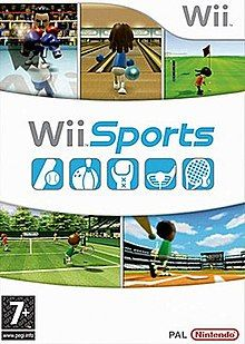 """Artwork of a vertical rectangular box. The top third displays three screen shots from the game: two characters with boxing gloves fighting in a boxing ring, a character holding a bowling ball at a ball pit, and a character holding a golf at the putting green of a golf course The Wii logo is shown at the upper left corner. The center portion reads """"Wii Sports"""" over five blue boxes depicting different sports equipment. The lower third displays two more screen shots from the game: a character holding a tennis racket at a Tennis court and a character swinging a baseball bat in a stadium. The PEGI """"7+"""" rating is shown on the bottom left corner and the Nintendo logo is on the bottom right corner."""