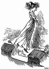 Caricature of a woman in a long gown and flying hair, jumping from the battlements of a castle