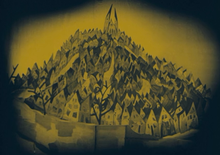 A sepia-tinted drawing of a city landscape, with several tilted buildings packed tightly together in sharp angles on a steep hill.