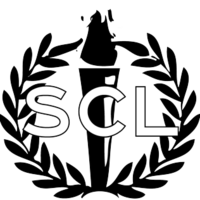 A torch surrounded by a laurel wreath with the letters SCL imposed over them