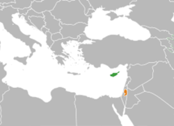Map indicating locations of Cyprus and Palestine