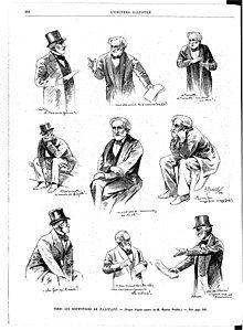 nine drawings of elderly bearded man gesticulating or sitting