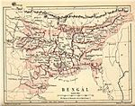 """Map of """"Bengal"""" from Pope, G. U. (1880), Text-book of Indian History: Geographical Notes, Genealogical Tables, Examination Questions, London: W. H. Allen & Co. Pp. vii, 574, 16 maps."""