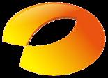 一个橙色的椭圆形,其中左下角有一缺口,中间有一部分梭形的镂空,两者共同组成了一条鱼的形状,鱼头朝向右上方;单独看中间的梭形镂空部分,又像一个米粒[1]