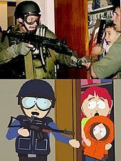 Montage: On top, an armored man with a rifle reaches for a scared young boy being held in the arms of an adult male in an open closet. On bottom, a frame from an animated show mimicking the picture above, with an adult female instead holding a young boy.