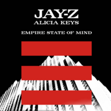 """An image of a white building shown at a slanted angle with three red lines coming across the image of the building. The words """"Jay-Z"""", """"Alicia Keys"""" and """"Empire State of Mind"""" written in capital letters overlapping a black background can also be seen."""