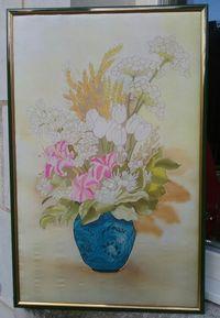 Peinture sur soie encadrée fait main