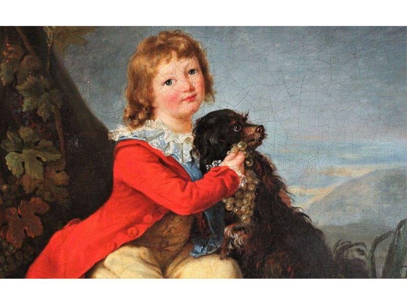 """Vends Portrait """"Louis XVII et Moufflet"""" huile sur toile du XVIIIe s"""