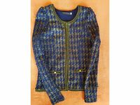 Vends jolie veste stylée bleu/or/sequins TENKI Taille 36