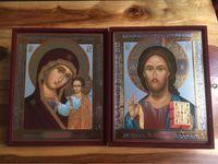 Double icône grecque Vierge à l'Enfant et Christ