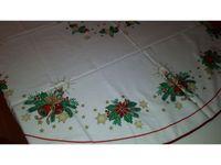 Vends nappe Noël/ ronde diam 1,50m/coton/blanc déco poinsettia&cloches