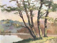 Peinture Huile sur Bois. Pochade vue de Forêt, bord de lac