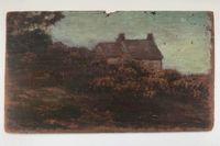 Pochade Huile sur Bois, Maison, Bretagne, Hortensias en automne