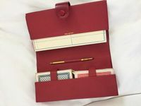 Etui cuir rouge cartes de bridge